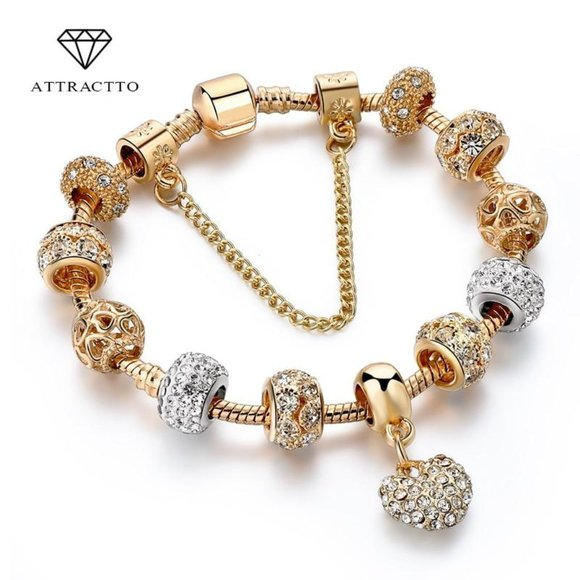 Catalyst Desgins Jewelry - ATTRACTTO Luxury Crystal Heart Charm Bracelets&Ban